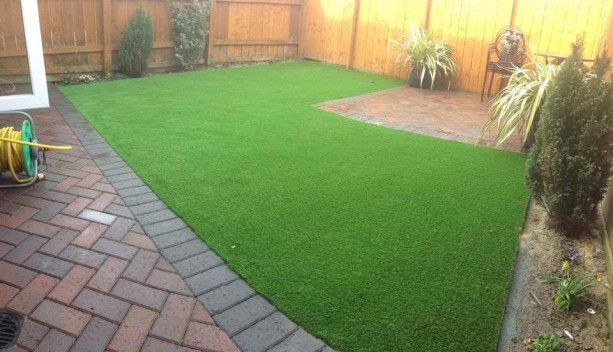Artificial Lawn combined with Block Paving in Sunderland, North East