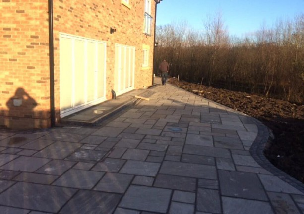 Indian Sandstone Patio Paving and Tegula Driveway Paving